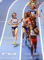 Great Britain's Laura Muir (right) in action during the Women's 3000m final during day one of the 2018 IAAF Indoor World Championships at The Arena Birmingham, Birmingham.