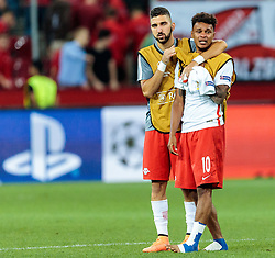 24.08.2016, Red Bull Arena, Salzburg, AUT, UEFA CL, FC Red Bull Salzburg vs Dinamo Zagreb, Play off, Rueckspiel, im Bild Munas Dabbur (FC Red Bull Salzburg), Valentino Lazaro (FC Red Bull Salzburg) // during the UEFA Championsleague Play off 2nd Leg Match between FC Red Bull Salzburg and Dinamo Zagreb at the Red Bull Arena in Salzburg, Austria on 2016/08/24. EXPA Pictures © 2016, PhotoCredit: EXPA/ JFK