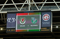 Photo: Leigh Quinnell.<br /> Wales v Slovakia. UEFA European Championships 2008 Qualifying. 07/10/2006. The scoreboard tells the story.