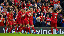 09.11.2013, Anfield, LIVERPOOL, ENG, Premier League, FC Liverpool vs FC Fulham, 11. Runde, im Bild Liverpool's Martin Skrtel celebrates scoring the second goal // during the English Premier League 11th round match between Liverpool FC and Fulham FC at Anfield in LIVERPOOL, Great Britain on 2013/11/09. EXPA Pictures © 2013, PhotoCredit: EXPA/ Propagandaphoto/ David Rawcliffe<br /> <br /> *****ATTENTION - OUT of ENG, GBR*****