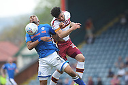 Calvin Andrew competes for the ball during the EFL Sky Bet League 1 match between Rochdale and Bradford City at Spotland, Rochdale, England on 21 April 2018. Picture by Daniel Youngs.