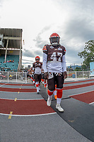 KELOWNA, BC - AUGUST 17:  Miguel WOOD #47 of Okanagan Sun walks to the bench against the Westshore Rebels  at the Apple Bowl on August 17, 2019 in Kelowna, Canada. (Photo by Marissa Baecker/Shoot the Breeze)