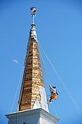 Michael Duke, 37, of Errol, N.H., papers the steeple of the First Baptist Church of Meriden, N.H., in preparation to for shingling on Thursday, June 17, 2021. Duke recently purchased Robert Morgan & Co., the steeple restoration company he started working for at age 18, and has traveled the country for his work. (Valley News - James M. Patterson) Copyright Valley News. May not be reprinted or used online without permission. Send requests to permission@vnews.com.