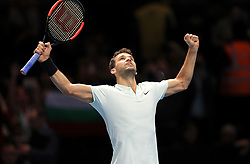 Grigor Dimitrov celebrates victory during day four of the NITTO ATP World Tour Finals at the O2 Arena, London.