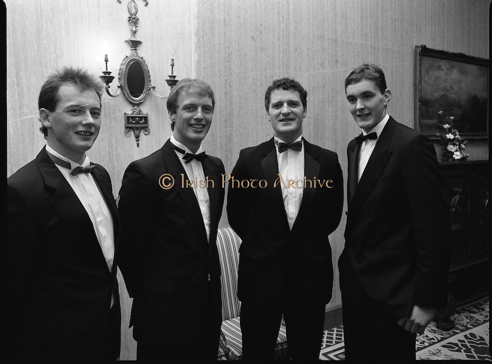 "B.O.I. GAA Allstars  (R96)..1989..03.02.1989..02.03.1989..3rd February 1989..The Awardsfor the B.O.I.Allstars were held tonight in the Burlington Hotel,Dublin. The list of the winnersis as follows..1989 - HURLING ALL STARS J. Commins (Galway), A. Fogarty (Offaly), E. Cleary (Wexford), D. Donnelly (Antrim), Conal Bonnar (Tipperary), B. Ryan (Tipperary), S. Treacy (Galway), M. Coleman (Galway), D. Carr (Tipperary), E. Ryan (Galway), Joe Cooney (Galway), O. McFetridge (Antrim), P Fox (Tipperary), Cormac Bonnar (Tipperary), N. English (Tipperary)."" 1989 - FOOTBALL ALL STARS Gabriel Irwin (Mayo), Jimmy Browne (Mayo), Gerry Hargan (Dublin), Dermot Flanagan (Mayo); Connie Murphy (Kerry), Conor Counihan (Cork), Anthony Davis (Cork); Teddy McCarthy (Cork), Willie Joe Padden (Mayo); Dave Barry (Cork) Larry Tompkins (Cork), Noel Durkin (Mayo); Paul McGrath (Cork), Eugene McKenna (Tyrone), Tony McManus (Roscommon).""..Pictured at the Allstars Event were football alstars, Niall Cahalane, Cork, Larry Tomkins, Cork, Coleman Corrigan, Cork and Maurice Fitzgerald, Kerry."