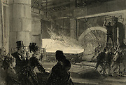 Prince and  Princess of Wales watching the rolling of a 14-inch (.355mm) at an iron and steel works, Sheffield, England, 1875.