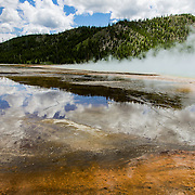 Spectacular Grand Prismatic Spring, one of the most dramatic of all thermal features in Yellowstone National Park, WY.