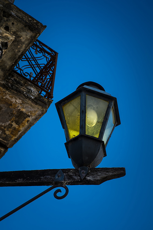 Typical antique lamp in the streets of Colonia del Sacramento, Uruguay