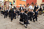 School children hold a procession to the Parroquia de San Miguel Arcangel church during the week long fiesta of the patron saint Saint Michael September 26, 2017 in San Miguel de Allende, Mexico.