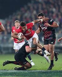 British and Irish Lions' Anthony Watson is tackled by Crusaders Joe Moody during the tour match at the AMI Stadium, Christchurch. PRESS ASSOCIATION Photo. Picture date: Saturday June 10, 2017. See PA story RUGBYU Lions. Photo credit should read: David Davies/PA Wire. RESTRICTIONS: Editorial use only. No commercial use or obscuring of sponsor logos.