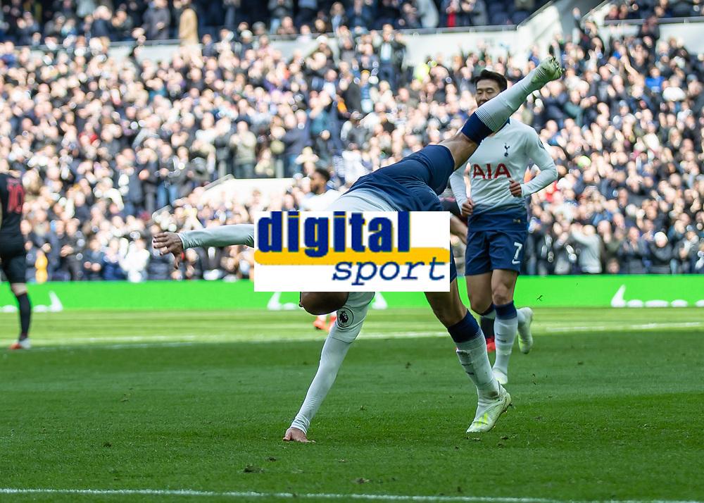 Football - 2018 / 2019 Premier League - Tottenham Hotspur vs. Huddersfield Town<br /> <br /> Lucas Moura (Tottenham FC)  starts his somersault celebration with a cartwheel at The Tottenham Hotspur Stadium.<br /> <br /> COLORSPORT/DANIEL BEARHAM