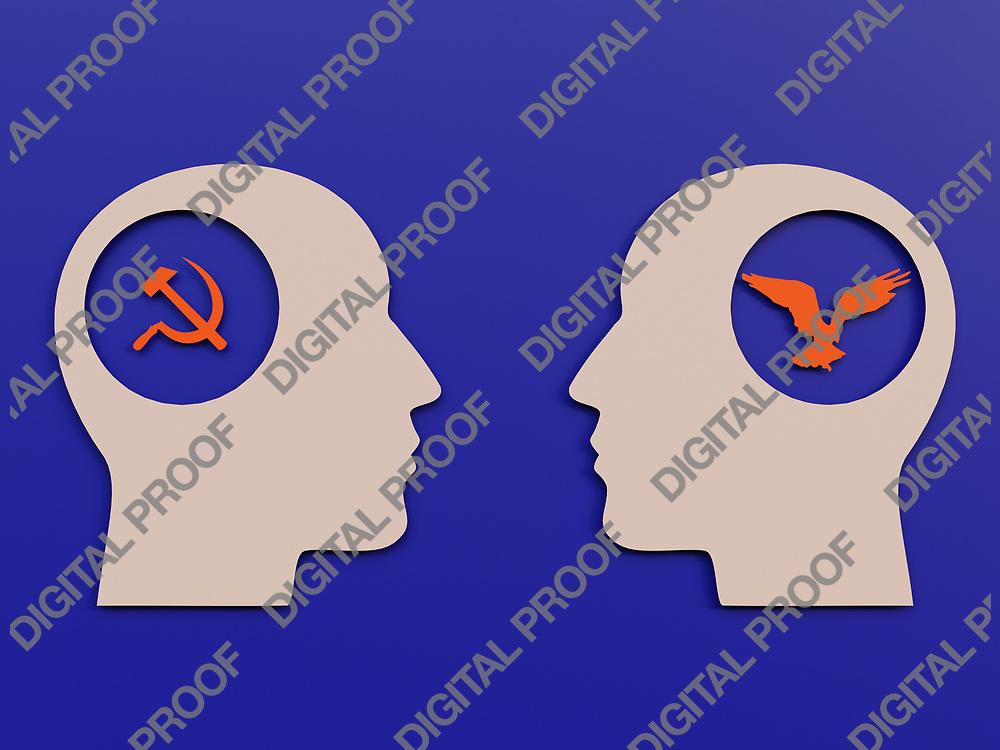 Socialism men and Liberalism Men in a minimalism flaylat Cut Paper Art - 3D Rendering Concept