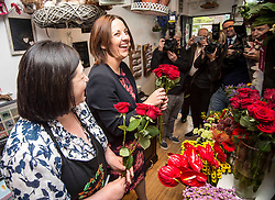 Scottish Labour leader Kezia Dugdale with florist Lorna Dunlop of  Rowan Flowers in Edinburgh as part of Labour's campaign push in Edinburgh East.<br /> <br /> © Dave Johnston/ EEm