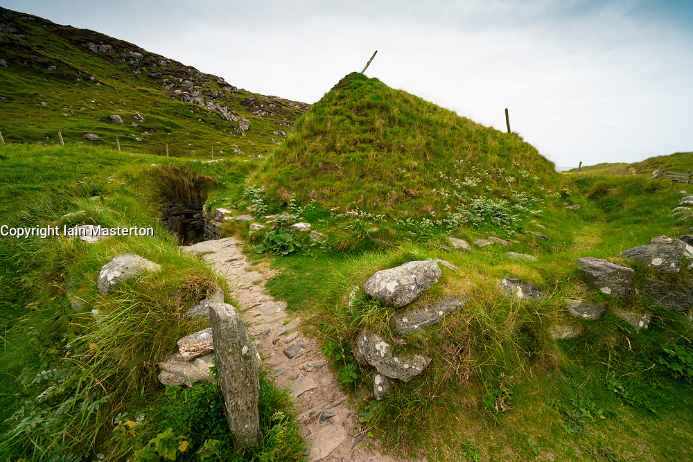 Reconstructed Iron Age house at Bosta on Isle of Lewis, Outer Hebrides, Scotland, UK