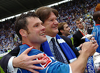 Photo: Kevin Poolman.<br /> Reading v Queens Park Rangers. Coca Cola Championship. 30/04/2006. Captain Graeme Murty and Chairman John Madejski with the Trophy.