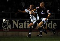 Photo: Richard Lane.<br />Northampton Town v Bristol City. Coca Cola League 1. 29/08/2006. <br />City's Steve Brooker (lt) is challenged by Sean Dyche.