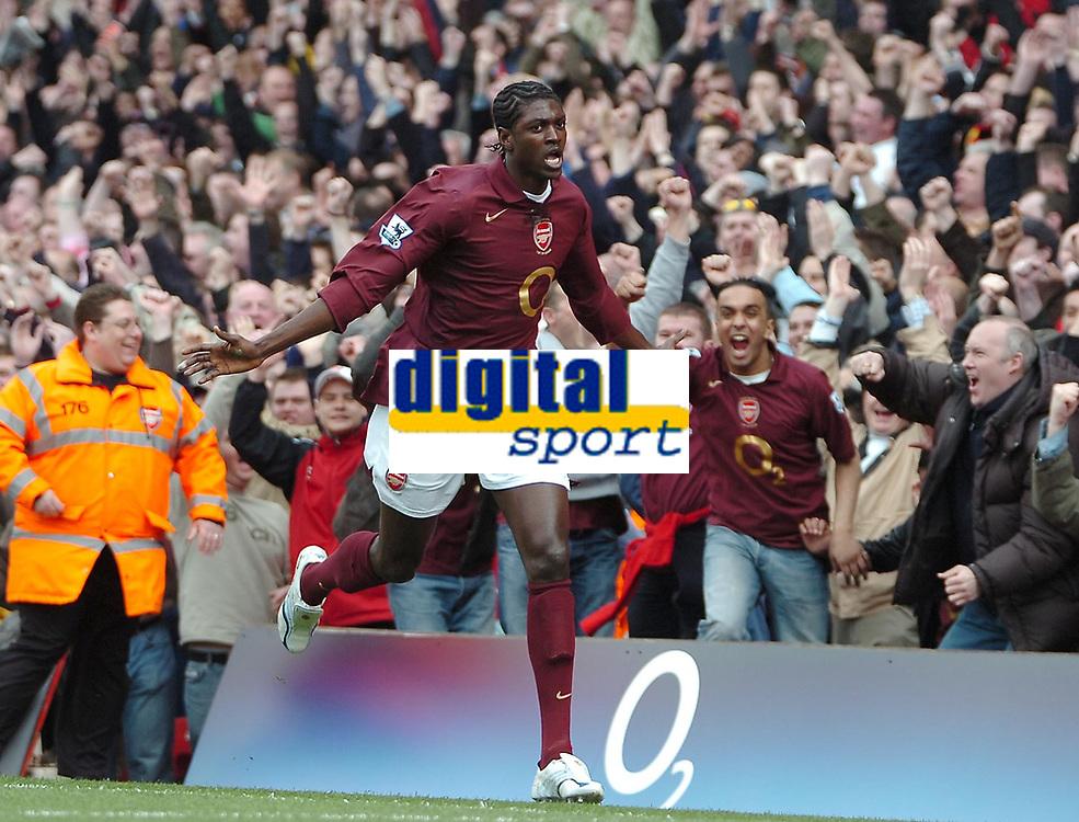 Photo: Ed Godden.<br />Arsenal v Aston Villa. The Barclays Premiership. 01/04/2006. Emmanuel Adebayor scores for Arsenal.