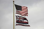 The US and Hawaiian flag flying near Hana, Maui.