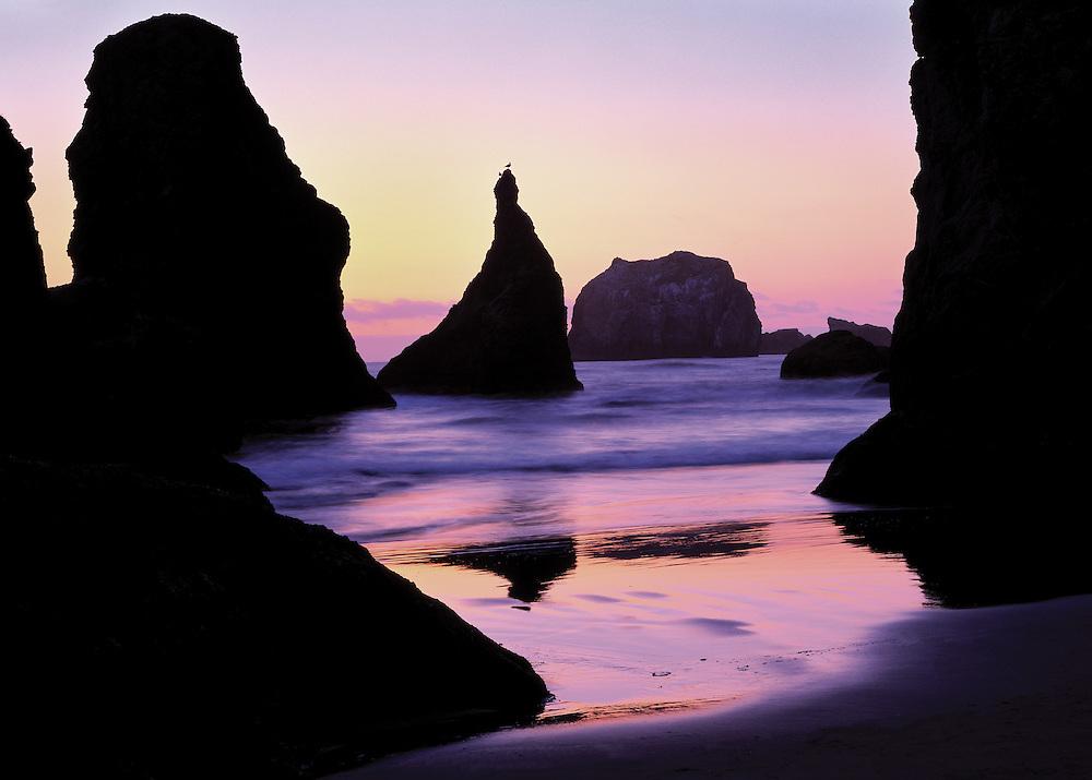 Rock monoliths in sunset at Bandon Beach Oregon Coast