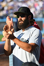 May 28, 2018 - Los Angeles, CA, U.S. - LOS ANGELES, CA - MAY 28: Philadelphia Phillies pitcher Jake Arrieta (49) claps for the military members honored during a MLB game between the Philadelphia Phillies and the Los Angeles Dodgers on Memorial Day, May 28, 2018 at Dodger Stadium in Los Angeles, CA. (Photo by Brian Rothmuller/Icon Sportswire) (Credit Image: © Brian Rothmuller/Icon SMI via ZUMA Press)