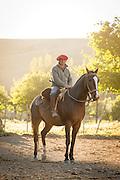 Gaucho on horseback, Estancia Huechahue, Patagonia, Argentina, South America