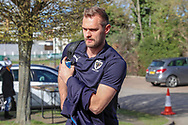 AFC Wimbledon striker James Hanson (18) arriving during the EFL Sky Bet League 1 match between AFC Wimbledon and Doncaster Rovers at the Cherry Red Records Stadium, Kingston, England on 9 March 2019.