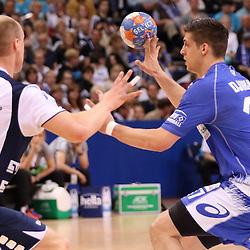 Hamburg, 24.05.2015, Sport, Handball, DKB Handball Bundesliga, HSV Handball - SG Flensburg-Handewitt : Johan Jakobsson (SG Flensburg-Handewitt, #19), Petar Djordjic (HSV Handball, #17)<br /> <br /> Foto © P-I-X.org *** Foto ist honorarpflichtig! *** Auf Anfrage in hoeherer Qualitaet/Aufloesung. Belegexemplar erbeten. Veroeffentlichung ausschliesslich fuer journalistisch-publizistische Zwecke. For editorial use only.
