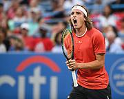 STEFANOS TSITSIPAS yells in anger at the Rock Creek Tennis Center.