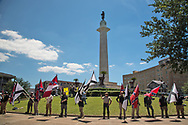 """Group that gathered in front of Lee Circle on Sunday morning to protect Lee Circle, one of the Confererate Monuments slated to be taken down, from the """"Antifa""""."""