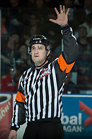 KELOWNA, CANADA - APRIL 7: Referee Kyle Kowalski stands on the ice at the Kelowna Rockets against the Portland Winterhawks on April 7, 2017 at Prospera Place in Kelowna, British Columbia, Canada.  (Photo by Marissa Baecker/Shoot the Breeze)  *** Local Caption ***