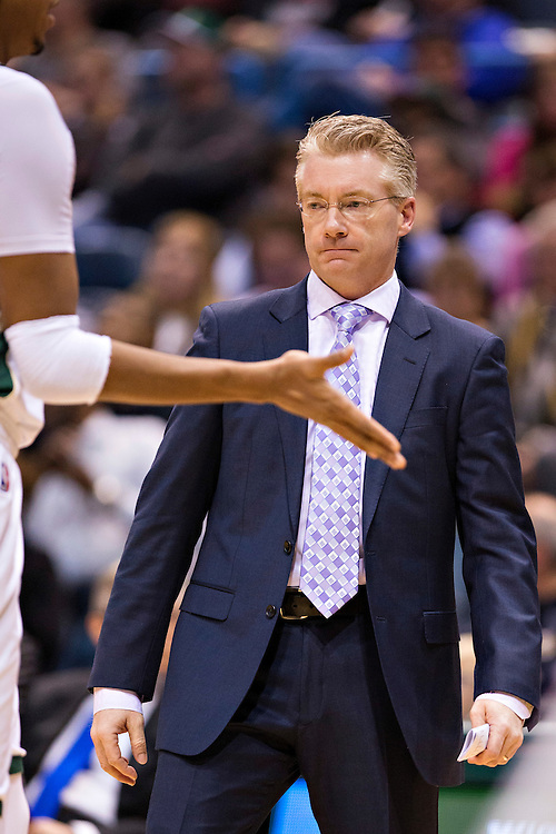 """MILWAUKEE, WI- JANUARY 4:  Head Coach Joe Prunty of the Milwaukee Bucks watches his players during a game against the San Antonio Spurs at BMO Harris Bradley Center on January 4, 2016 in Milwaukee, Wisconsin.  """"NOTE TO USER: User expressly acknowledges and agrees that, by downloading and or using this photograph, User is consenting to the terms and conditions of the Getty Images License Agreement.""""(Photo by Wesley Hitt/Getty Images) *** Local Caption *** Joe Prunty"""