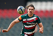 Leicester Tigers wing Kobus Van Wyk watches the ball during a Gallagher Premiership Round 10 Rugby Union match, Friday, Feb. 20, 2021, in Leicester, United Kingdom. (Steve Flynn/Image of Sport)
