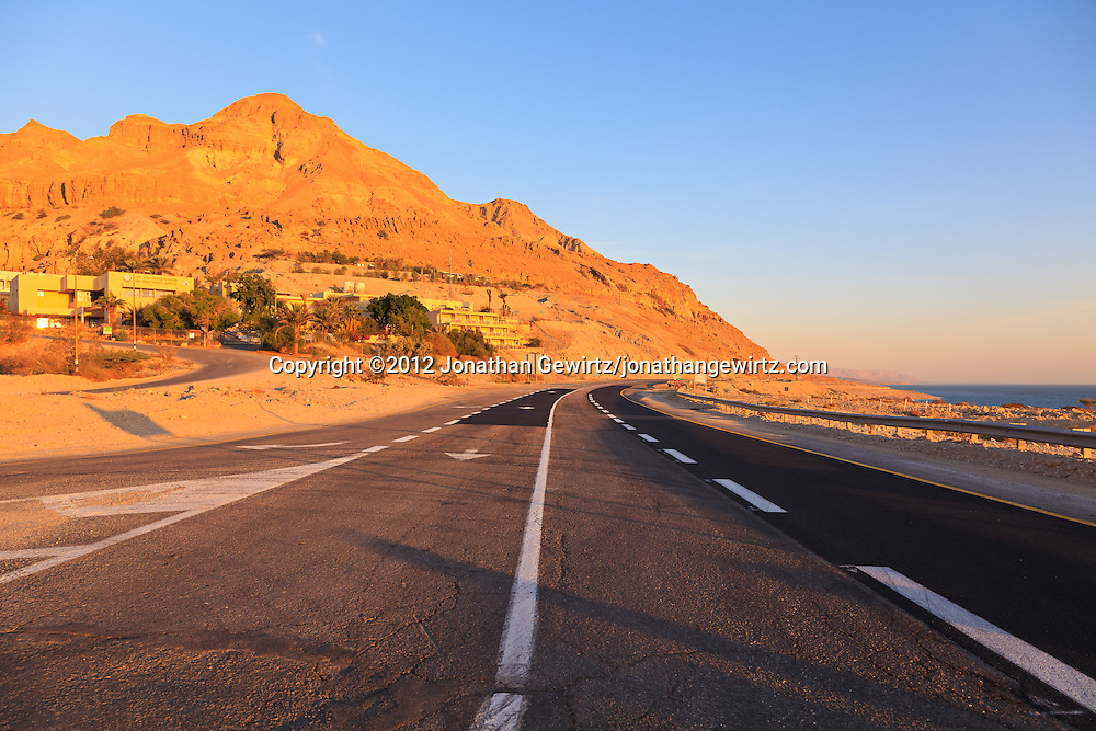 Highway 90 passes the youth hostel, oasis and nature preserve at Ein Gedi on the western Dead Sea coast. WATERMARKS WILL NOT APPEAR ON PRINTS OR LICENSED IMAGES.