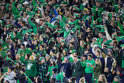 October 12, 2019:  Notre Dame student section wave their green towels during NCAA football game action between the USC Trojans and the Notre Dame Fighting Irish at Notre Dame Stadium in South Bend, Indiana.  Notre Dame defeated USC 30-27.