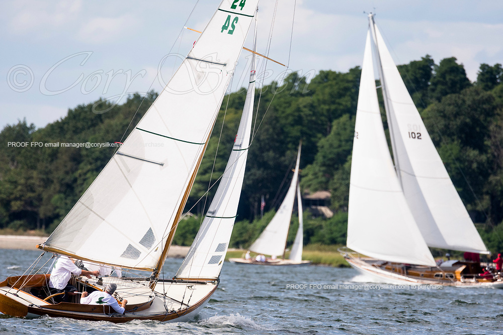Swallow sailing in the Panerai Herreshoff Classic Yacht Regatta.