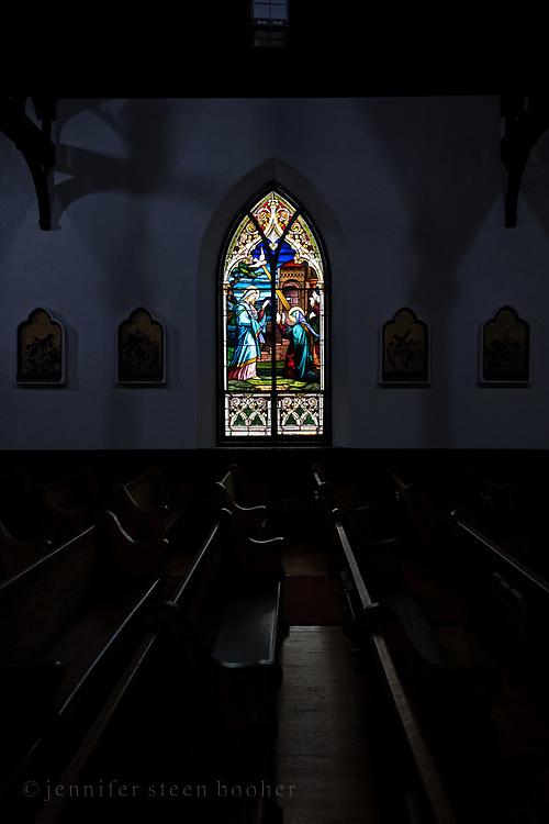 Based on an illustration in The Bible in Pictures: [Die Bibel in Bildern. London: Norgate and Williams, 1856; Leipzig: Georg Wigands, 1860] by Julius Schnorr von Carolsfeld (1794 –1872).<br /> <br /> Window 4 on plan. Holy Redeemer Catholic Church, Bar Harbor, Maine.
