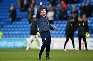 Neil Warnock, the manager of Cardiff City celebrates his teams win at the end of the game. EFL Skybet championship match, Cardiff city v Birmingham City at the Cardiff city stadium in Cardiff, South Wales on Saturday 10th March 2018.<br /> pic by Andrew Orchard, Andrew Orchard sports photography.