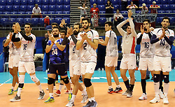 September 12, 2018 - Varna, Bulgaria - the Iraninan team after winning the match 3:0.FIVB Volleyball Men's World Championship 2018, pool D, Iran vs Puerto Rico,. Palace of Culture and Sport, Varna/Bulgaria, .the teams of Finland, Cuba, Puerto Rico, Poland, Iran and co-host Bulgaria are playing in pool D in the preliminary round. (Credit Image: © Wolfgang Fehrmann/ZUMA Wire)