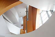 Interior detail of the Walt Disney Concert Hall, in Downtown Los Angeles, California.