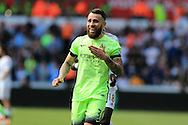 Nicolas Otamendi  of Manchester city looks on.  Barclays Premier league match, Swansea city v Manchester city at the Liberty Stadium in Swansea, South Wales on Sunday 15th May 2016.<br /> pic by Andrew Orchard, Andrew Orchard sports photography.