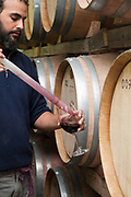 The vintner tastes the wine from an aging barrel at a winery