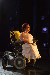 "© Licensed to London News Pictures. 05/10/2015. London, UK. Pictured: Caroline Bowditch. Caroline Bowditch's ""Falling in Love with Frida"" explores the life, loves and legacy of disabled artist Frida Kahlo at the Lilian Baylis Studio/Sadler's Wells on 5-6 October 2015. Performed by Caroline Bowditch, Welly O'Brien, Nicole Guarino and Yvonne Strain (sign language interpreter). Photo credit: Bettina Strenske/LNP"
