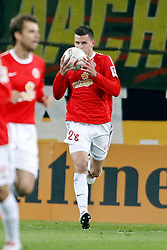27.10.2010,  Tivoli, Aachen, GER, DFB Pokal, Alemannia Aachen vs Mainz 05, 2. Runde, im Bild: Adam Szalai (Mainz #28) kuesst den Ball nach dem 1:2 Anschlusstreffer   EXPA Pictures © 2010, PhotoCredit: EXPA/ nph/  Mueller+++++ ATTENTION - OUT OF GER +++++