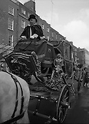 St Patrick's Day Parade.1982.17/03/1982.03.17.1982.17th March 1982.Photograph of the  coach as it is proudly driven by Mr Joe Mc Grath..Mr Mc Grath supplied the four grey horses to pull the coach.