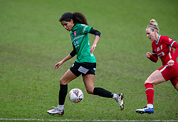 BIRKENHEAD, ENGLAND - Sunday, March 14, 2021: Coventry United's Destiney Toussaint during the FA Women's Championship game between Liverpool FC Women and Coventry United Ladies FC at Prenton Park. Liverpool won 5-0. (Pic by David Rawcliffe/Propaganda)