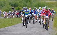 Sykkel <br /> 29.06.2013<br /> Kirchberg Østerrike<br /> Foto: Gepa/Digitalsport<br /> NORWAY ONLY<br /> <br /> UCI Weltmeisterschaften Marathon. Bild zeigt Blaza Klemencic (SLO) und Gunn-Rita Dahle Flesjå (NOR).