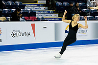 KELOWNA, BC - OCTOBER 24: Team USA Olympic figure skater, Alexa Scimeca Knierim, warms up on the ice during pairs practice of Skate Canada International at Prospera Place on October 24, 2019 in Kelowna, Canada. (Photo by Marissa Baecker/Shoot the Breeze)