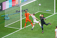 Matthijs de Ligt of the Netherlands battles for possession with Tomas Kalas of Czech Republic and Tomas Vaclik of Czech Republic during the UEFA Euro 2020, Round of 16 football match between Netherlands and Czech Republic on June 27, 2021 at Puskas Arena in Budapest, Hungary - Photo Andre Weening / Orange Pictures / ProSportsImages / DPPI
