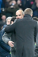 Football - 2018 / 2019 Emirates FA Cup - Quarter-Final: Swansea City vs. Manchester City<br /> <br /> Pep Guardiola & graham potter after winning the game , at The Liberty Stadium.<br /> <br /> COLORSPORT/WINSTON BYNORTH
