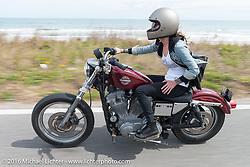 Sarah Furey riding Highway A1A along the coast during Daytona Bike Week 75th Anniversary event. FL, USA. Thursday March 3, 2016.  Photography ©2016 Michael Lichter.